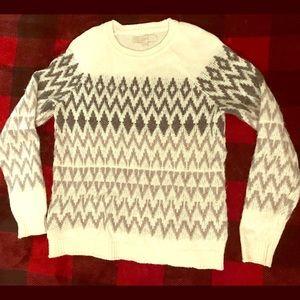 Ann Taylor Loft Nordic Print Sweater Ivory M